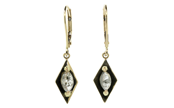 TOBA Earrings in Yellow Gold with .72 Carat Salt and Pepper Diamonds