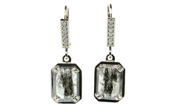 2.47 ct salt & pepper diamond earrings worn by model