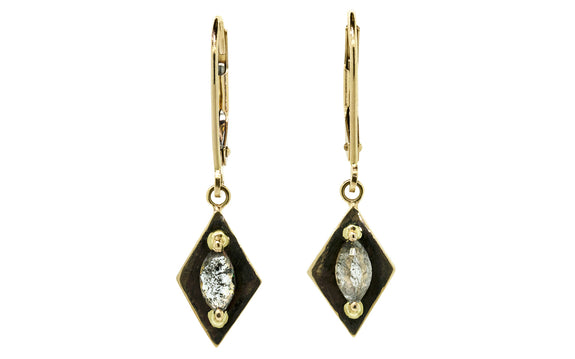 TOBA Earrings in Yellow Gold with .56 Carat Salt and Pepper Diamonds