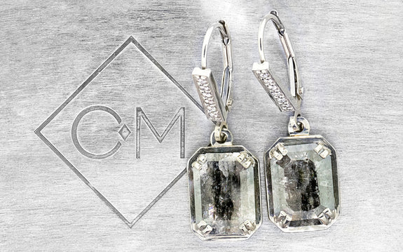 2.47 ct salt & pepper diamond earrings front view