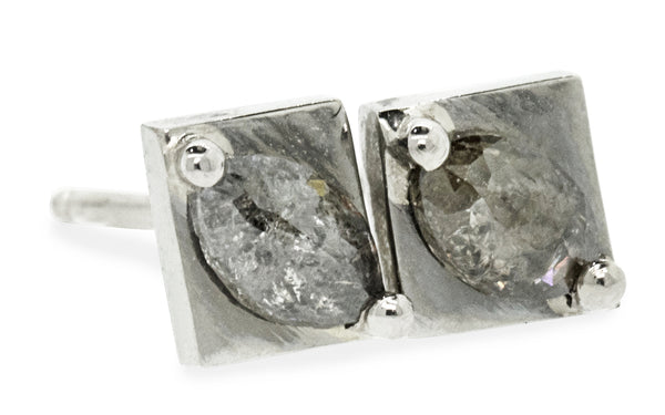TOBA Stud Earrings in White Gold with .37 Carat Salt and Pepper Diamonds