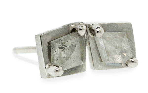 TOBA Stud Earrings in White Gold with .31 Carat Rustic White Diamonds