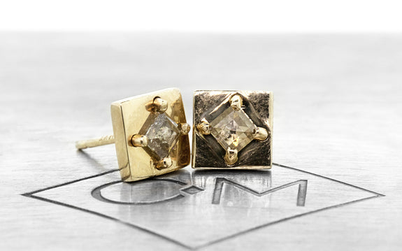 TOBA Stud Earring in Yellow Gold with .20 Carat Champagne Diamonds