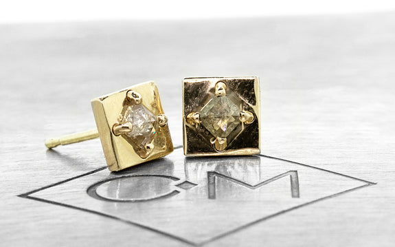 TOBA Earrings in Yellow Gold with .21 Carat Champagne Diamonds