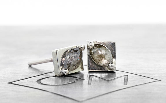 .37 ct salt and pepper diamond earrings front view