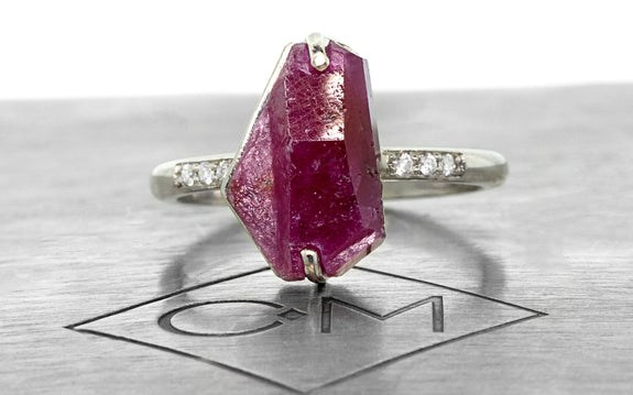 3 32 Carat Hand-Cut Ruby Ring in White Gold