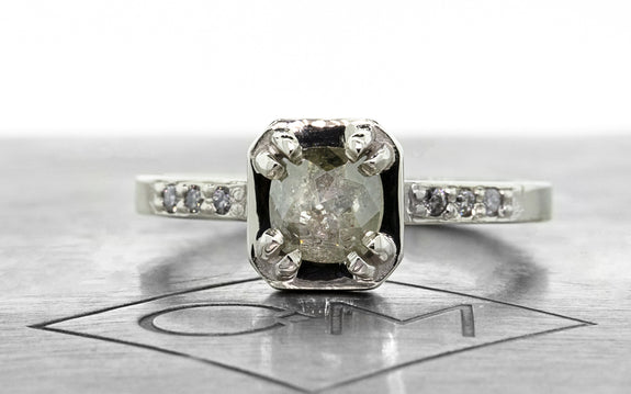 .56 carat gray diamond ring front view