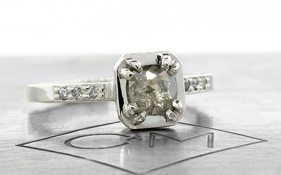 .56 carat gray diamond ring front view on logo