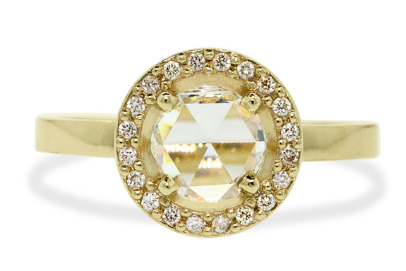 .87ct White Diamond Ring with Diamond Halo rotating view