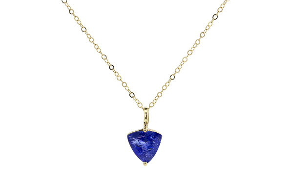 1.58 Carat Tanzanite Necklace in Yellow Gold worn by model