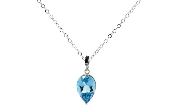 3.9 Carat Swiss Blue Topaz Necklace in White Gold