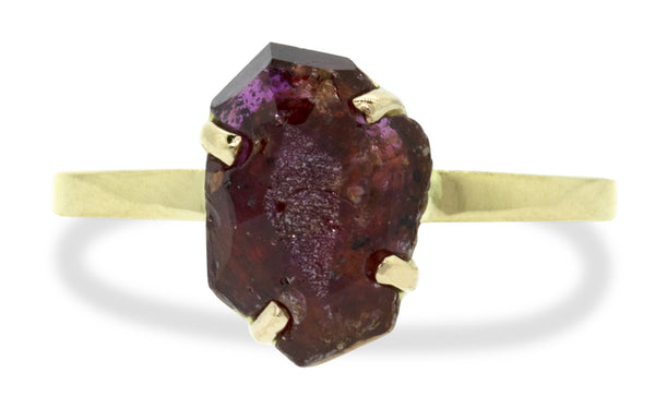 3.02 Carat Hand-Cut Ruby Ring in Yellow Gold
