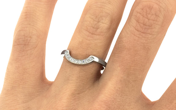 CM Curved Shadow Band with White Diamonds in white gold on logo
