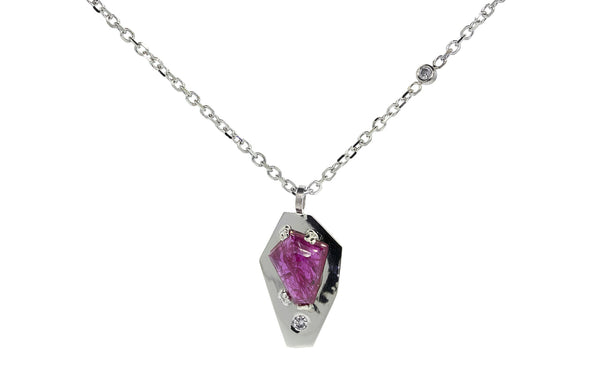 KIKAI Necklace in White Gold with 1.62 Carat Ruby
