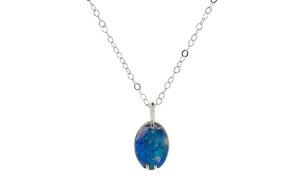 1.48 Carat Opal Necklace in White Gold