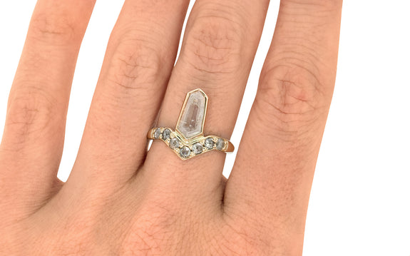 1.32 Carat Rustic White Diamond Ring in Yellow Gold