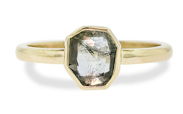 1.47 Carat Hand-Cut Light Blue Montana Sapphire Ring in Yellow Gold