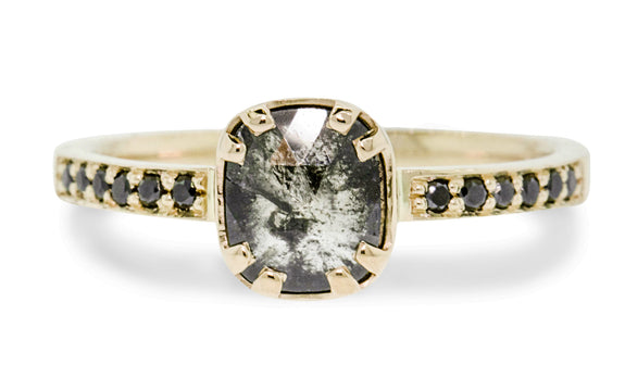 .65 Carat Salt and Pepper Diamond Ring in Yellow Gold