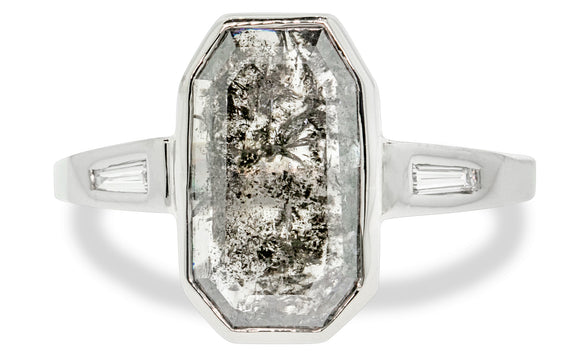 2.81 Carat Salt and Pepper Diamond Ring in White Gold
