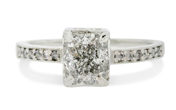 1.50 Carat Silver Diamond Engagement Ring in White Gold