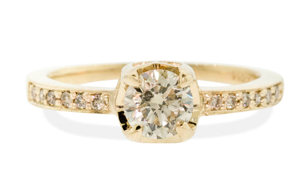 .61 Carat Champagne Diamond Engagement Ring in Yellow Gold