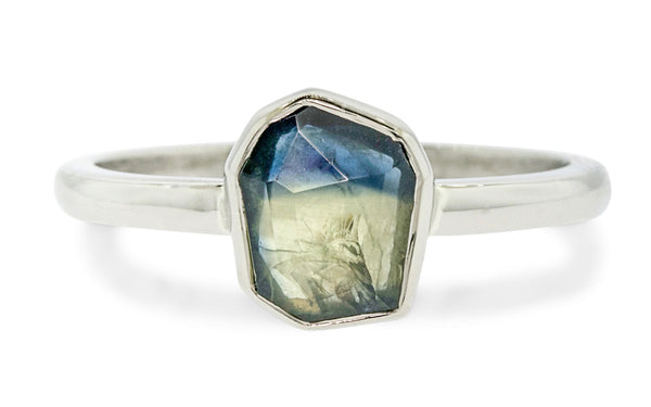 1.27 Carat Hand-Cut Parti Sapphire Ring in White Gold