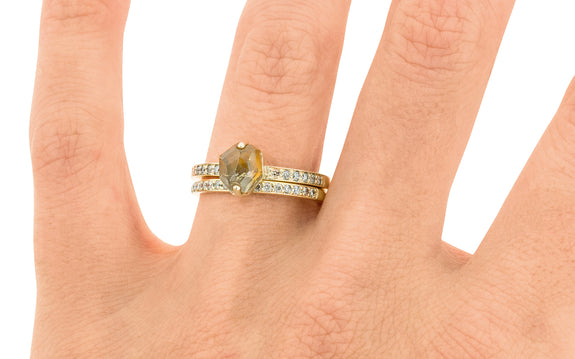 1.53 Carat Hand-Cut Montana Sapphire Ring in Yellow Gold