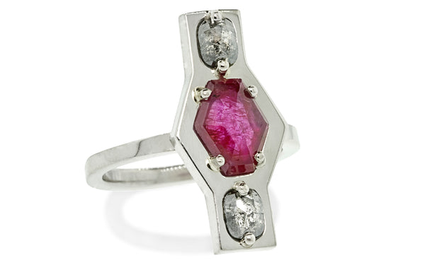 SANTORINI Ring in White Gold with .49 Carat Salt & Pepper Diamonds and 1.24 Carat Ruby