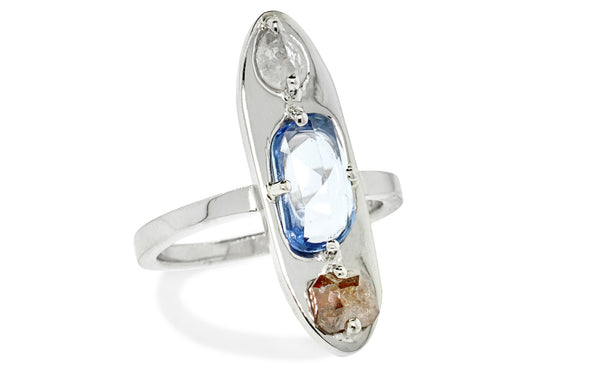 SANTORINI Ring in White gold with 1.42 Carat Sapphire and .62 Carat of Diamonds
