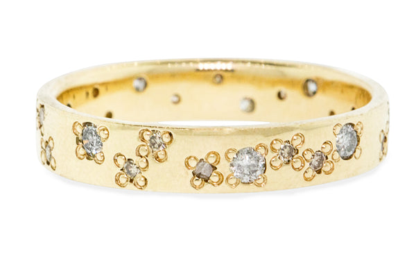 Wedding Band with Organic Pave Diamonds in Yellow Gold