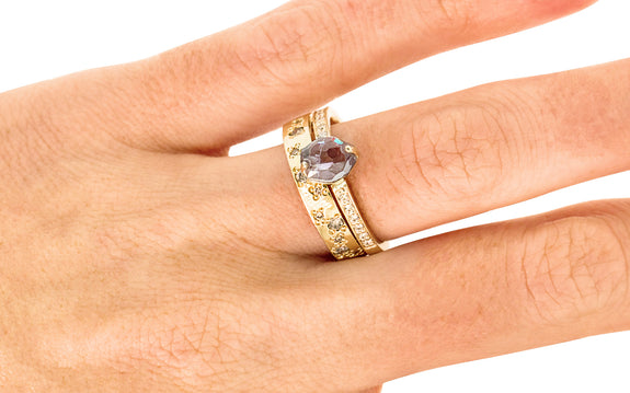 1.29 Carat Hand-Cut Violet Montana Sapphire Ring in Yellow Gold