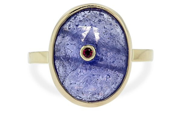 1.6ct Tanzanite & Ruby Ring on model