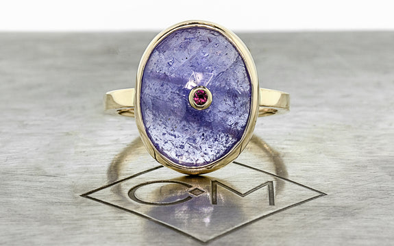 1.6ct Tanzanite & Ruby Ring front view