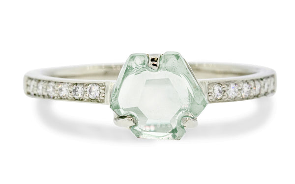 1.10 Carat Hand-Cut Light Teal Montana Sapphire Ring in White Gold
