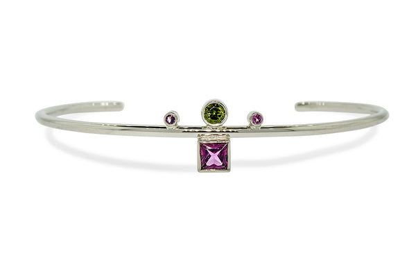 Green and Pink Tourmaline Bracelet in White Gold