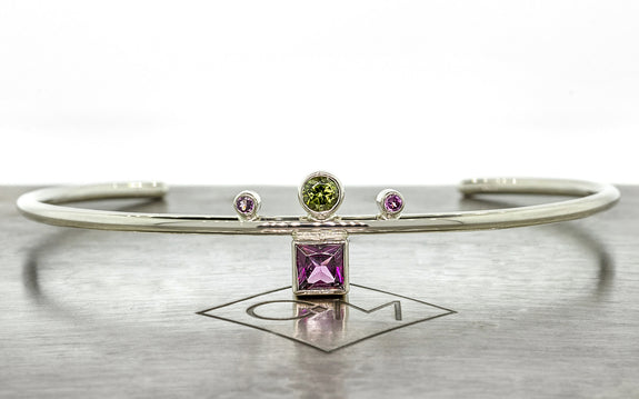Green and Pink Tourmaline Bracelet front view
