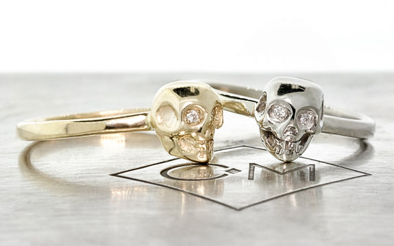 Diamond Skull Ring front view
