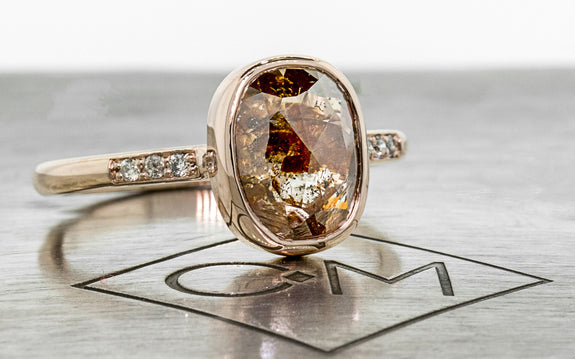 2.83 Carat Rich Cognac Diamond Ring in Rose Gold