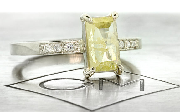 .92ct Vibrant Yellow Diamond Ring front view on logo
