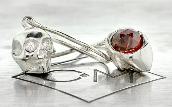 Diamond & Garnet Skull Earrings front view