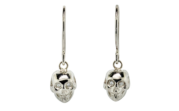 Diamond & Garnet Skull Earrings rotating view