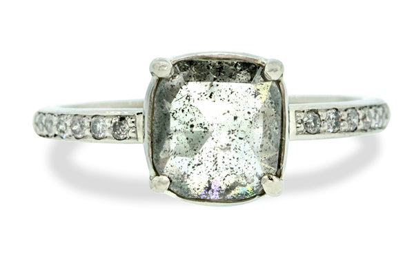 1.57 Carat Luminous Salt and Pepper Diamond Ring in White Gold