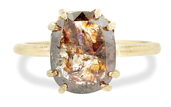 4.80 Carat Rustic Cognac Diamond Ring in Yellow Gold