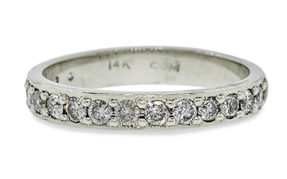 Wedding Band with 16 Gray 2mm Diamonds worn by model