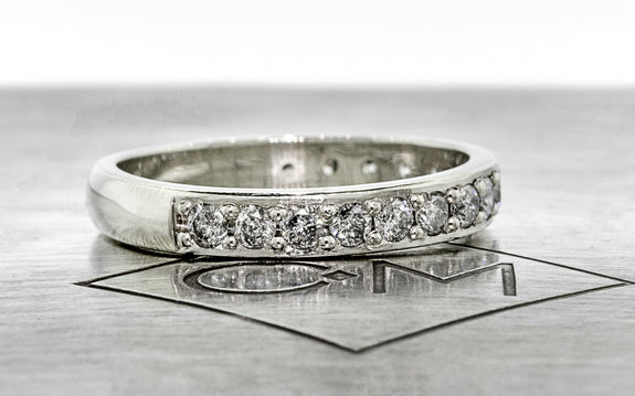 Wedding Band with 16 Gray 2mm Diamonds front view on logo