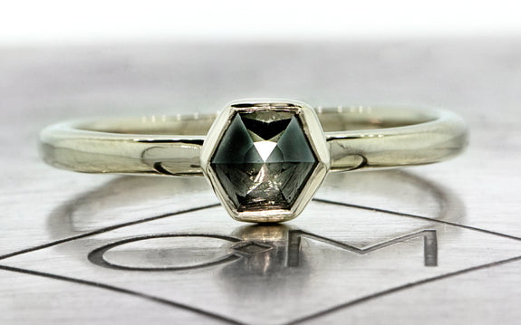 .58ct Black diamond Ring in white gold front logo view