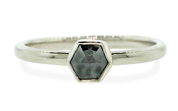 .58ct Black diamond Ring in white gold front view