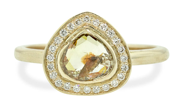 1.03 Carat Peach/Champagne Diamond Ring in Yellow Gold