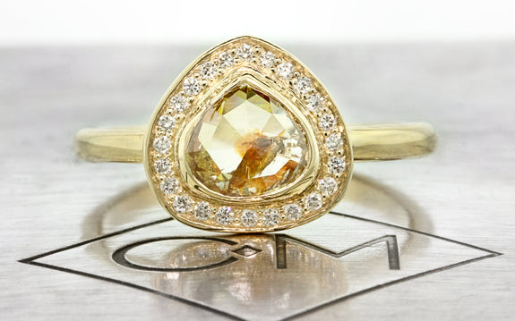 1.03ct Peach/Champagne Diamond Ring front view