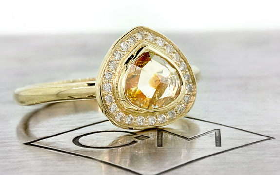 1.03ct Peach/Champagne Diamond Ring front view on logo
